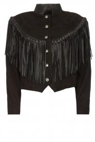 Antik Batik |  Leather jacket with fringes Jacky | black  | Picture 1