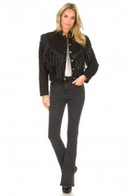 Antik Batik |  Leather jacket with fringes Jacky | black  | Picture 4