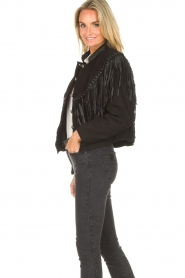 Antik Batik |  Leather jacket with fringes Jacky | black  | Picture 6