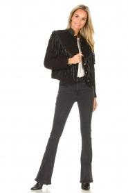 Antik Batik |  Leather jacket with fringes Jacky | black  | Picture 3
