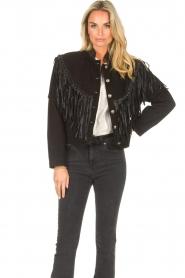 Antik Batik |  Leather jacket with fringes Jacky | black  | Picture 5