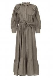 Antik Batik |  Cotton maxi dress with ruffles Lova | grey  | Picture 1