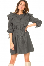 Antik Batik    Cotton dress with ruffles Lova   grey    Picture 4