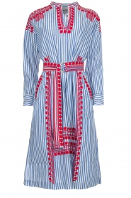 Antik Batik |  Striped midi dress with embroideries Jackie | blue  | Picture 1