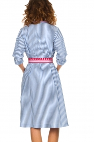 Antik Batik |  Striped midi dress with embroideries Jackie | blue  | Picture 5