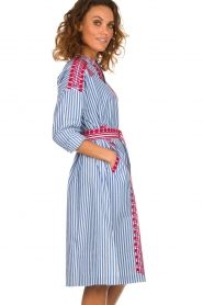 Antik Batik |  Striped midi dress with embroideries Jackie | blue  | Picture 4