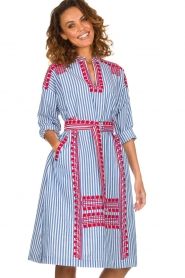 Antik Batik |  Striped midi dress with embroideries Jackie | blue  | Picture 2