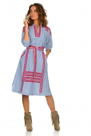 Antik Batik |  Striped midi dress with embroideries Jackie | blue  | Picture 3