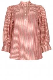Antik Batik |  Cotton blouse with lurex Meela | red  | Picture 1