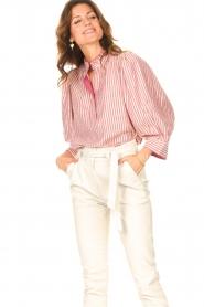 Antik Batik |  Cotton blouse with lurex Meela | red  | Picture 4