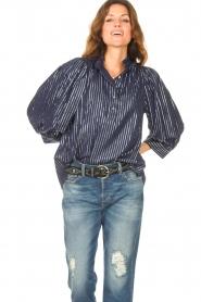Antik Batik    Cotton blouse with lurex Meela   blue    Picture 5