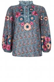 Antik Batik |  Blouse with floral print Pauline | blue  | Picture 1