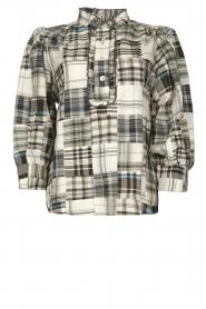 Antik Batik |  Checkered cotton blouse Alama | black  | Picture 1