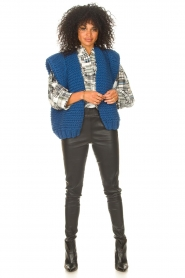 Antik Batik |  Checkered cotton blouse Alama | black  | Picture 3