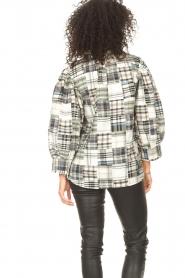 Antik Batik |  Checkered cotton blouse Alama | black  | Picture 7