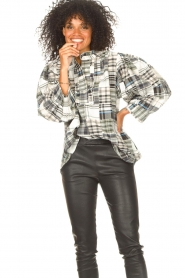 Antik Batik |  Checkered cotton blouse Alama | black  | Picture 5