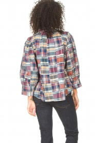Antik Batik |  Checkered cotton blouse Jerro | blue  | Picture 7