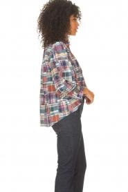 Antik Batik |  Checkered cotton blouse Jerro | blue  | Picture 6