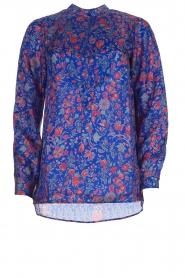 Antik Batik |  Silk floral blouse Silky | blue  | Picture 1