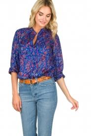 Antik Batik |  Silk floral blouse Silky | blue  | Picture 2