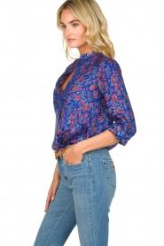 Antik Batik |  Silk floral blouse Silky | blue  | Picture 4