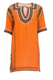 Antik Batik |  Embroidered tunic dress Toki | orange  | Picture 1
