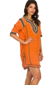 Antik Batik |  Embroidered tunic dress Toki | orange  | Picture 5