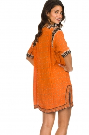 Antik Batik |  Embroidered tunic dress Toki | orange  | Picture 6