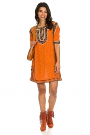 Antik Batik |  Embroidered tunic dress Toki | orange  | Picture 3