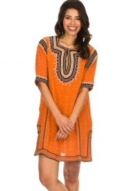 Antik Batik |  Embroidered tunic dress Toki | orange  | Picture 4