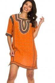 Antik Batik |  Embroidered tunic dress Toki | orange  | Picture 2