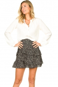 Knit-ted :  Printed blouse Ezra | white - img4