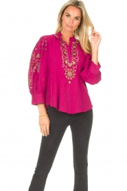 Antik Batik |  Embroided cotton blouse Cami | pink  | Picture 5