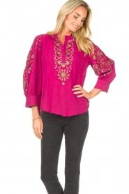 Antik Batik |  Embroided cotton blouse Cami | pink  | Picture 4