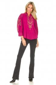 Antik Batik |  Embroided cotton blouse Cami | pink  | Picture 3