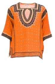Antik Batik |  Embroidered blouse Toki | orange  | Picture 1