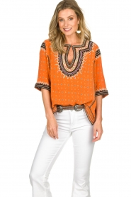 Antik Batik |  Embroidered blouse Toki | orange  | Picture 2
