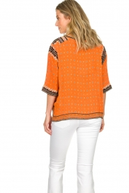 Antik Batik |  Embroidered blouse Toki | orange  | Picture 6