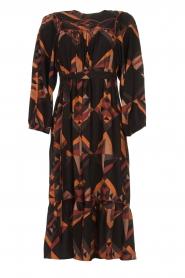 Antik Batik |  Midi dress with graphic print Delhine | black  | Picture 1