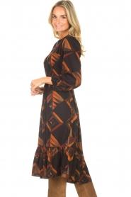 Antik Batik |  Midi dress with graphic print Delhine | black  | Picture 7