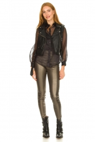Knit-ted |  Faux leather metallic leggings Amber | metallic  | Picture 2