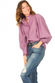 Antik Batik    Striped blouse with puff sleeves Yvette   purple    Picture 4