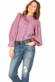 Antik Batik    Striped blouse with puff sleeves Yvette   purple    Picture 5