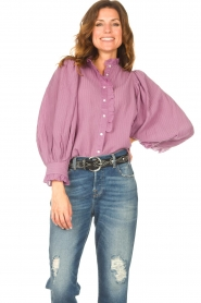 Antik Batik    Striped blouse with puff sleeves Yvette   purple    Picture 2
