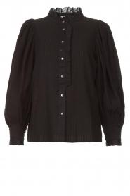 Antik Batik   Gestreepte blouse met pofmouwen Yvette   zwart    Afbeelding 1