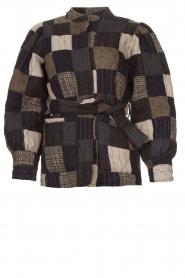 Antik Batik |  Checkered jacket with tie belt Lami | grey  | Picture 1