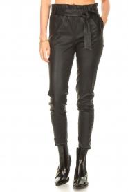 STUDIO AR |  Lamb leather paperbag pants Lotte | black  | Picture 5