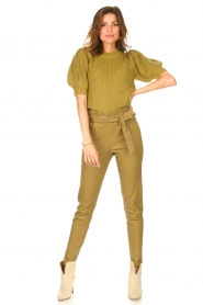 STUDIO AR BY ARMA |  Lamb leather paperbag pants Lotte | green  | Picture 2