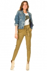 STUDIO AR BY ARMA |  Lamb leather paperbag pants Lotte | green  | Picture 3