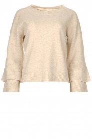 Knit-ted |  Sweater with valance sleeves Cynthia | natural  | Picture 1